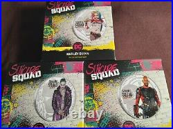 Harley Quinn & Joker & Dead Shot 1oz Suicide Squad Silver Proof Coins withBox CoA