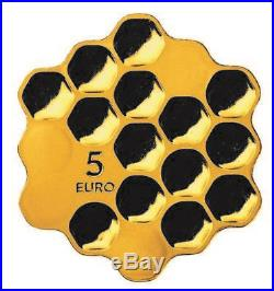 LATVIA 2018 silver coin gold plated 5 euro Honey bee cells Honey proof box