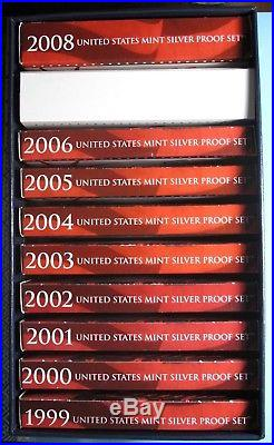 LOT of 10 SILVER PROOF SETS 1999-2008 ORIGINAL PACKAGING CERTIFICATE in BLUE BOX