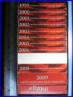 LOT of 12 SILVER PROOF SETS 1999-2010 ORIGINAL PACKAGING CERTIFICATE EXTRA BOX