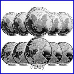 Lot of 10 2016-W 1 oz Proof Silver American Eagle 30th Anniversary withBox &