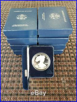 Lot of 8 2001-2008 W Proof American Silver Eagle With Box and COA