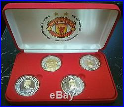 Manchester United Complete Box Treble Two Tone Silver Mirror Proof Medal Coinset