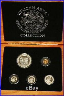 Mexico 1992 GOLD / SILVER PROOF Precolumbian Set, Aztec Culture in Mahogany Box
