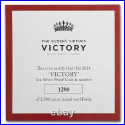NEW 2021 St Helena 1 oz Silver £1 Queen's Virtues Victory Proof Box/Coa