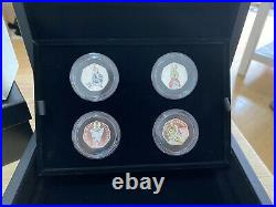 New 2018 X4 Coins Deluxe Black Box Silver Proof Beatrix Potter Set Peter Rabbit