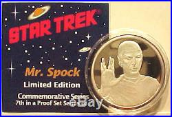 Original SPOCK Star Trek 1 oz. 999 Silver Coin- Proof- Boxed- FREE S&H
