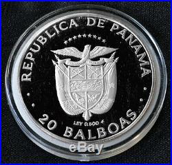 PANAMA 20 Balboas 1984 Silver 120g Proof Balboa & Indian Guide Mtg. 1,760 Box/Coa