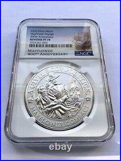 PF70 NGC 2020 Mayflower Anniversary 99.9% Silver REVERSE Proof With Box And CoA