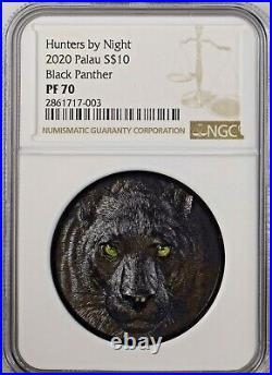 Palau 2020 Hunters by Night Black Panther 2 oz Silver Proof NGC PF70 BOX COA