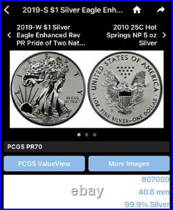 Rare 2019-S Silver American Eagle Enhanced Reverse Proof in Sealed Mint Box