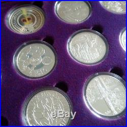Royal Mint Golden Jubilee Crown Set 24 Coins Silver Proof Boxed 2002 2003 COA
