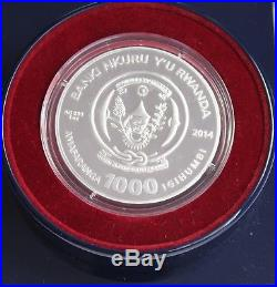 Rwanda Year of the Horse 2014 1000 Francs Agate 3 Oz Silver Proof Coin + BOX