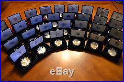 SET 1986 2018 S AMERICAN EAGLE PROOF SILVER DOLLAR in US MINT BOXES 32 COINS