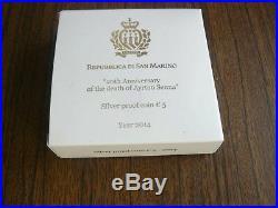 San Marino Ayrton Senna Silver 5 Euro 2014 PROOF in Box with Certificate