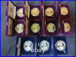 Set of 1986-2019 American Silver Eagle Proof 1 Oz Box & COA Collection