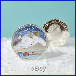 Silver Proof 2018 Snowman 50p Royal Mint Coin in a Deluxe Personalised Gift Box