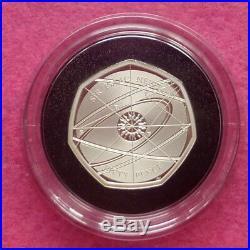 Sir Isaac Newton 2017 Uk 50p Silver Proof Piedfort Coin Box + Coa