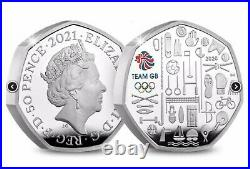 TEAM GB 2021 UK 50p Silver Proof Piedfort Colour Coin BOX & COA