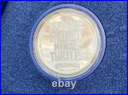 Teenage Mutant Ninja Turtle Commemorative Silver. 999 Coin in proof box 1990