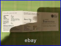 The 2010 UK Britannia One Once Silver Proof Coin Original Box and Certificate
