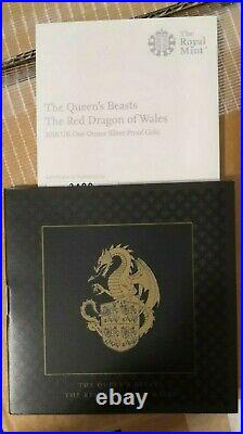 UK 2018 Queen's Beasts Red Dragon of Wales 1 Oz Silver Proof /No Box