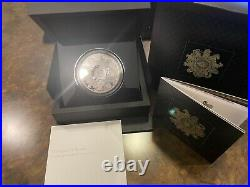 UK 2021 Queen's Beast Completer 10 Pounds Five Ounce Silver Proof W Box & COA