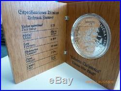 Very Rare Mexico 2005.999 Silver 2 Oz. Don Quixote $20 Proof with BOX