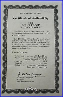 Washington Mint 1990 Giant Silver Eagle Proof 16 Troy Ounces Sealed Box & Coa