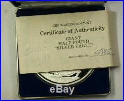 Washington Mint Giant 8 oz Proof Silver Eagle with Blue Box
